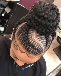 Curved Stitch Braids High Bun