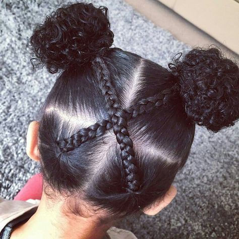Double Buns With Criss Cross Braids