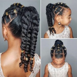 High Ponytail With Beads and Twists