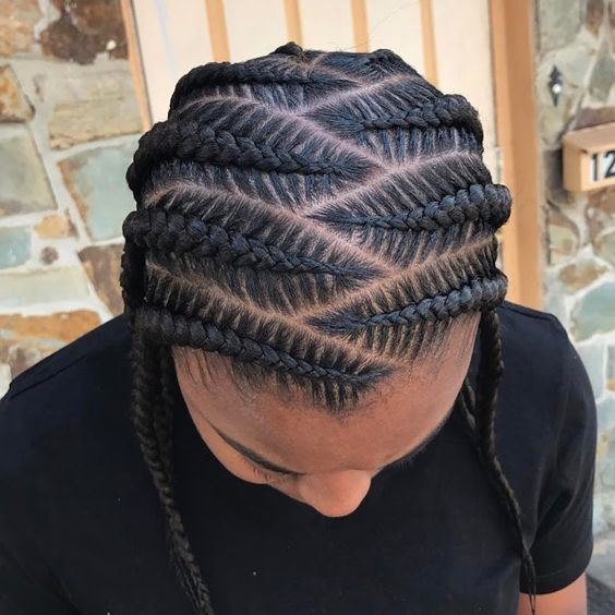 Side-Parted Stitch Braids