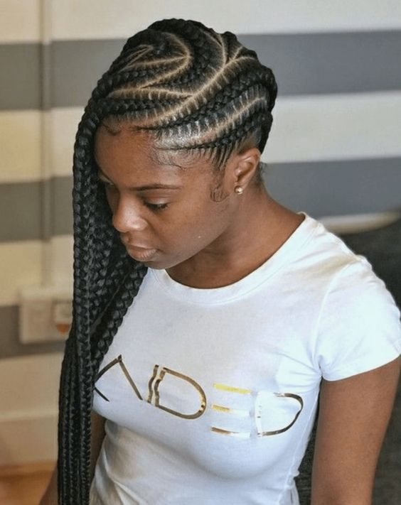 Side-Swept Curved Stitch Braids