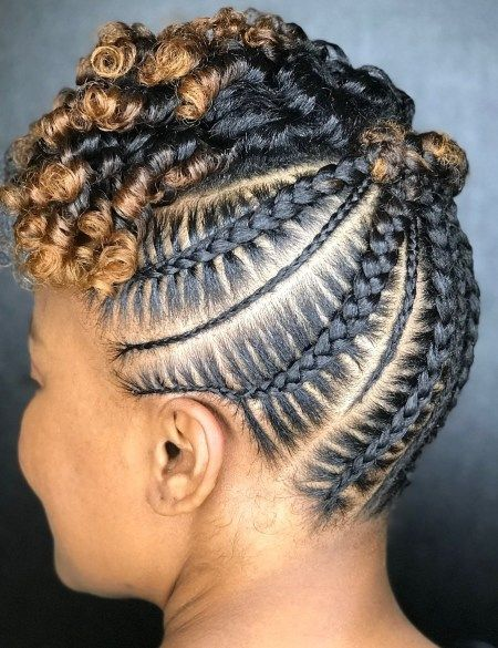 Stitch Braids Updo With Curls