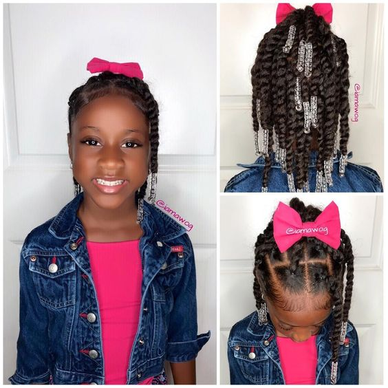 Two Strand Twist High Ponytail With Beads