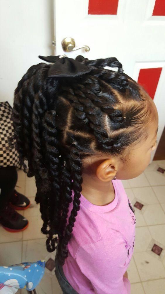 Two Strand Twists With Bow