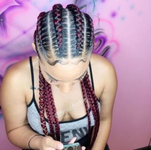 Two-Toned Red Stitch Braids