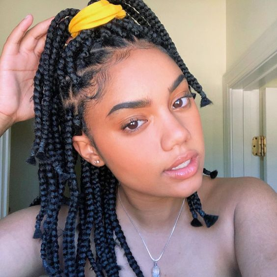 Braids with High Ponytail