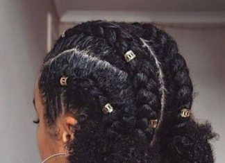 Chunky Cornrows with Curly Buns