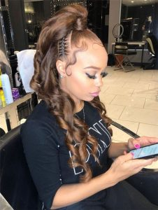 Half Up High Ponytail With Cornrows