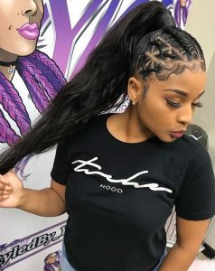 High Ponytail With Cornrows and Sleek Edges