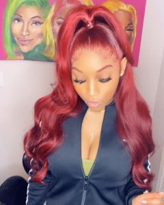 Red Loose Wavy High Ponytail