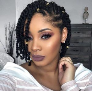 Short Braids With Gold Beads