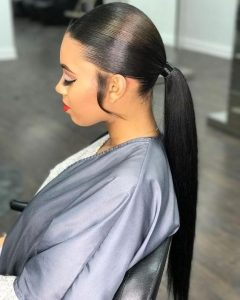 Sleek Ponytail With Sideburns
