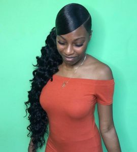Sleek Wavy Side Ponytail