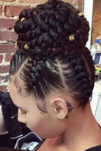 Cornrowed High Bun With Gold Beads