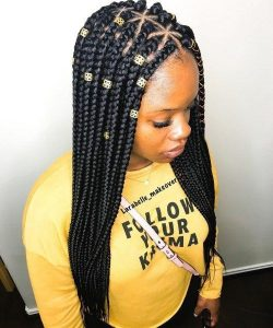 Triangle Part Box Braids With Gold Beads