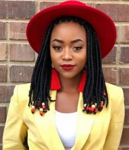 Box Braids With Yellow and Red Beads