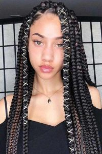 Chunky Black Box Braids With Colored Cord