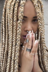 Chunky Blonde Box Braids With Silver Rings