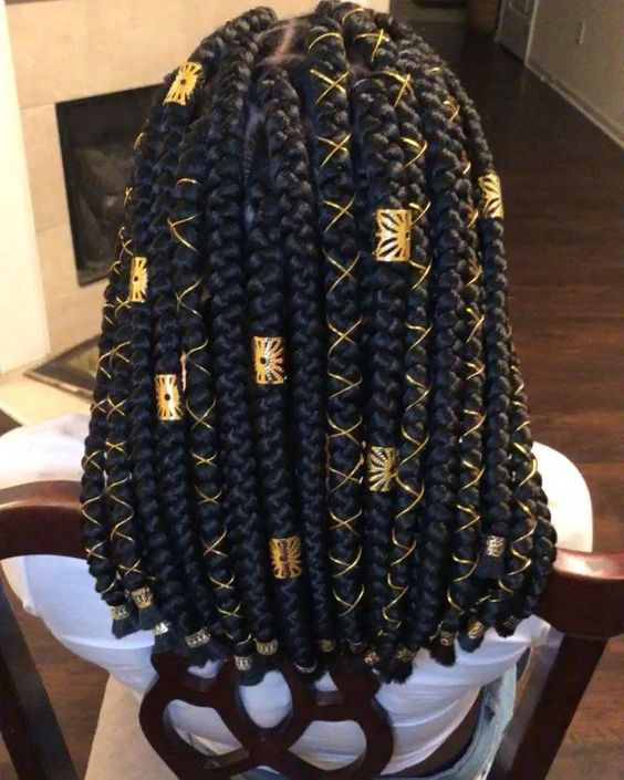 Chunky Shoulder Length Box Braids With Gold Accessories
