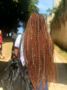 Golden Brown Box Braids With White Cord