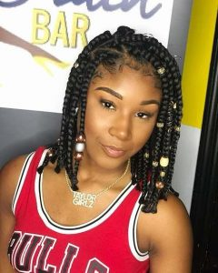 Shoulder Length Box Braids With Beads