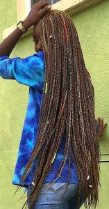 Super Long Brown Box Braids With Colorful Accessories