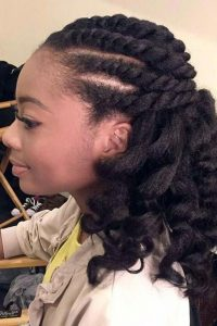 Flat Twist Out on Stretched Hair
