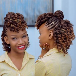 Flat Twist Updo With Curls