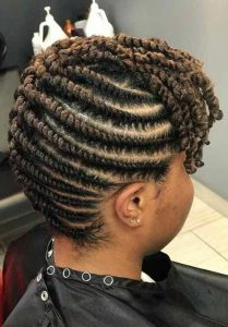 Flat Twist Updo With Twisted Bangs