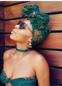 Green Head Wrap With Bow