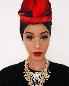 Red and Black Head Wrap
