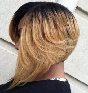 Stacked Blonde Ombre Sew-In Bob