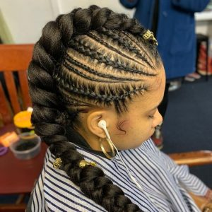 Mohawk Braids With Gold Beads