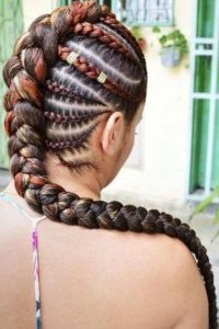 Mohawk Braids With a Hint of Color