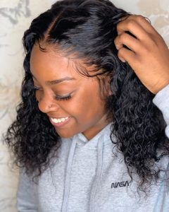 Curly Black Lace front Wig