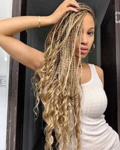 Blonde Box Braids With Curly Ends