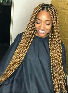 Chunky Blonde Box Braids With Triangle Parts