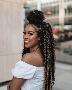 half up passion twist crochet braids