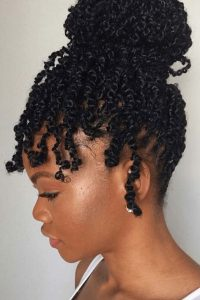 waterfall bun passion twist crochet braids