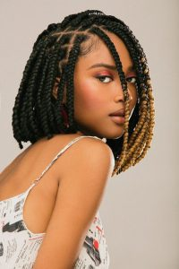 angular bob rubber band box braids