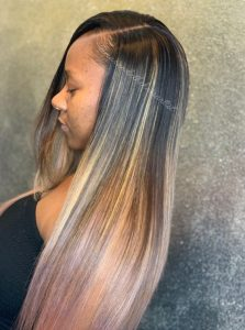 black blond pink ombre on partial sew in