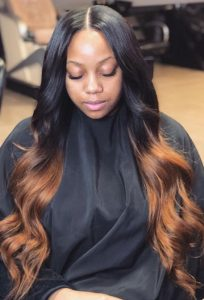 black to brown body wave partial sew in