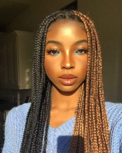 half black half blond box braids with rubber band method
