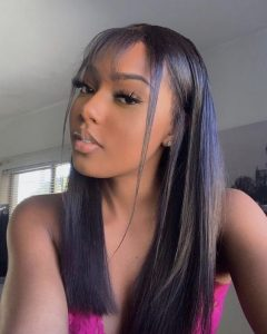long straight hair with bang leave out