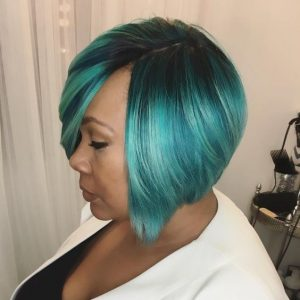 blue and black quick weave bob