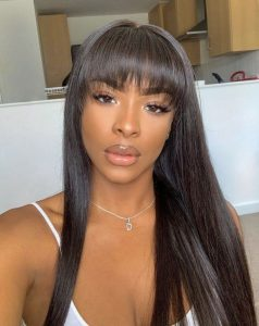 long quick weave with bangs