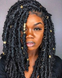 butterfly loc bob with gold hardware