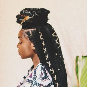 half up yarn style braids