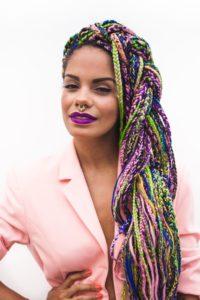 rainbow yarn braids