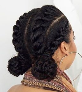 chunky cornrows with double buns